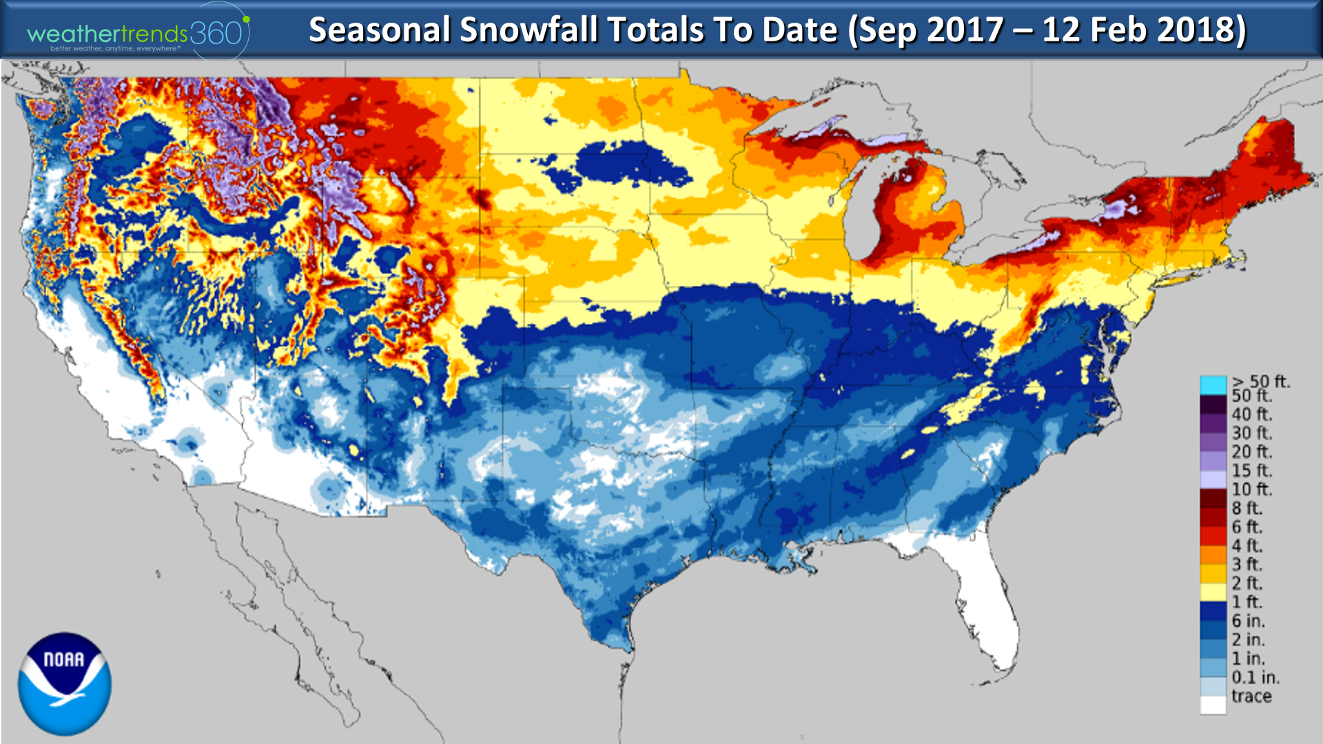 Star Date 12 February 2018 Monday Blog Weathertrends360 - Average-snowfall-us-map